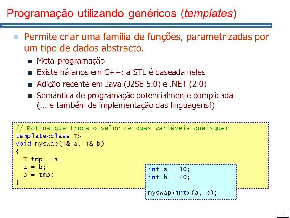 Programação utilizando genéricos (templates)