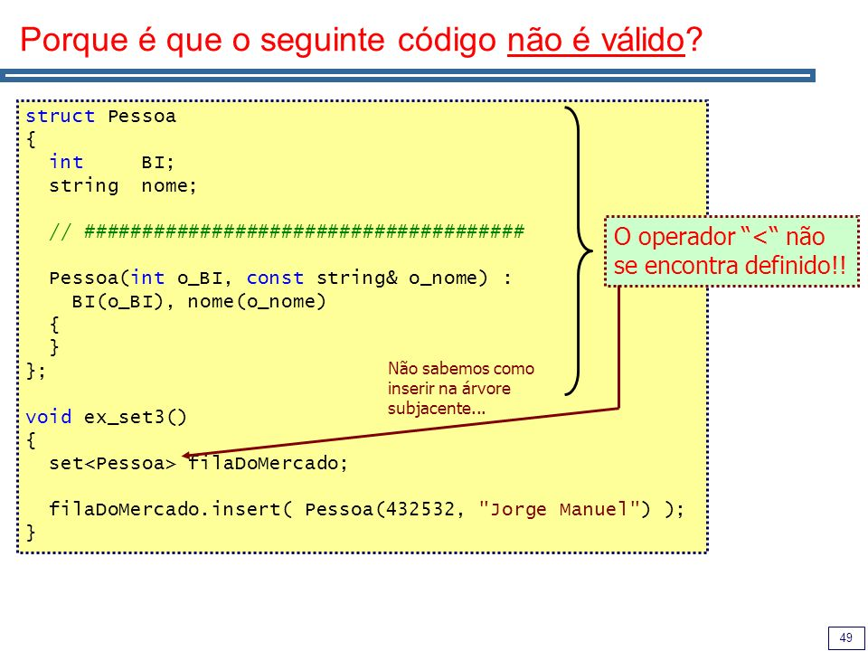 Porque é que o seguinte código não é válido