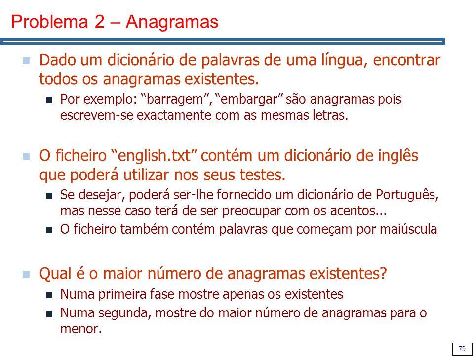 Problema 2 – Anagramas Dado um dicionário de palavras de uma língua, encontrar todos os anagramas existentes.