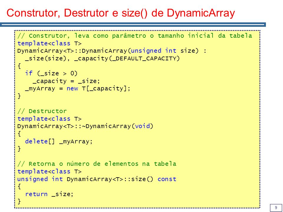 Construtor, Destrutor e size() de DynamicArray