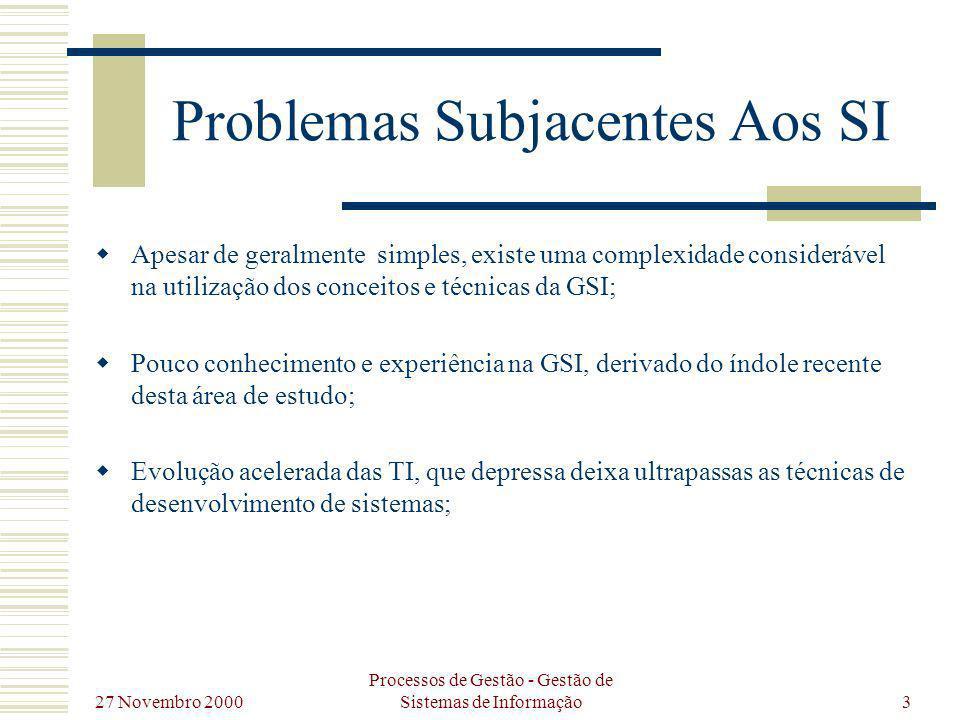 Problemas Subjacentes Aos SI