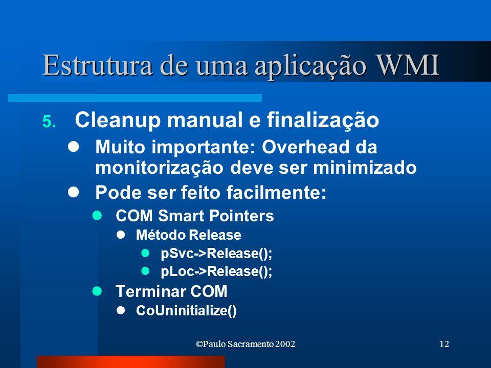 Estrutura de uma aplicação WMI