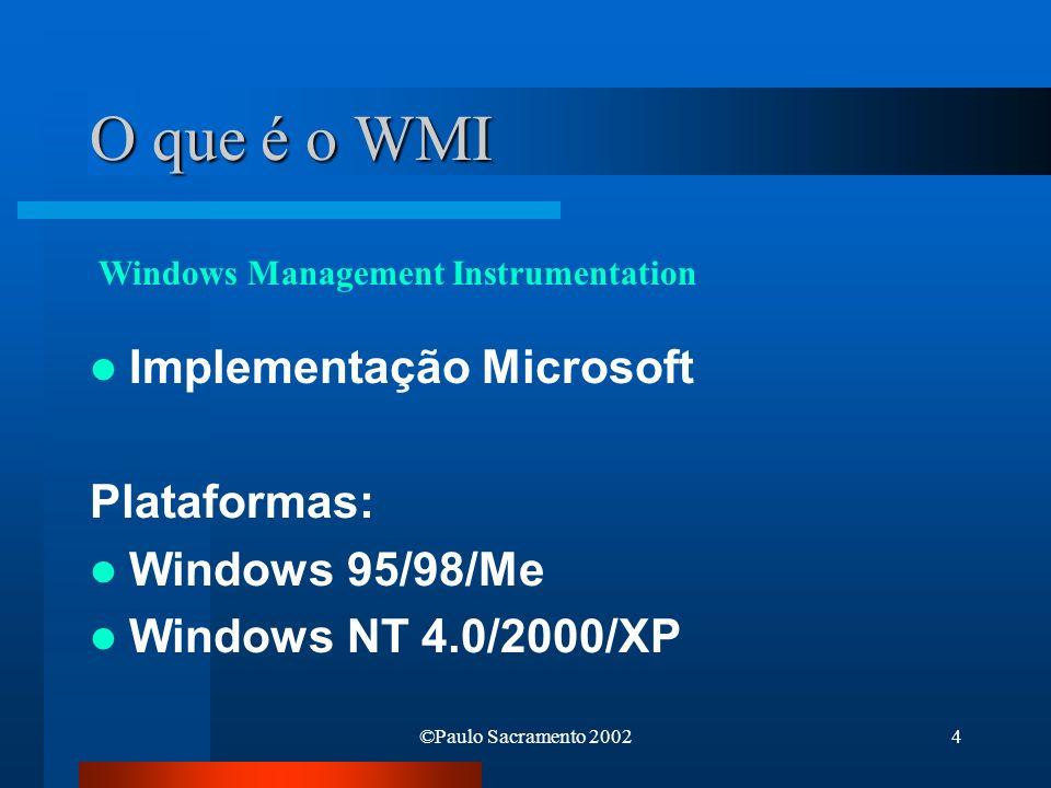 O que é o WMI Implementação Microsoft Plataformas: Windows 95/98/Me