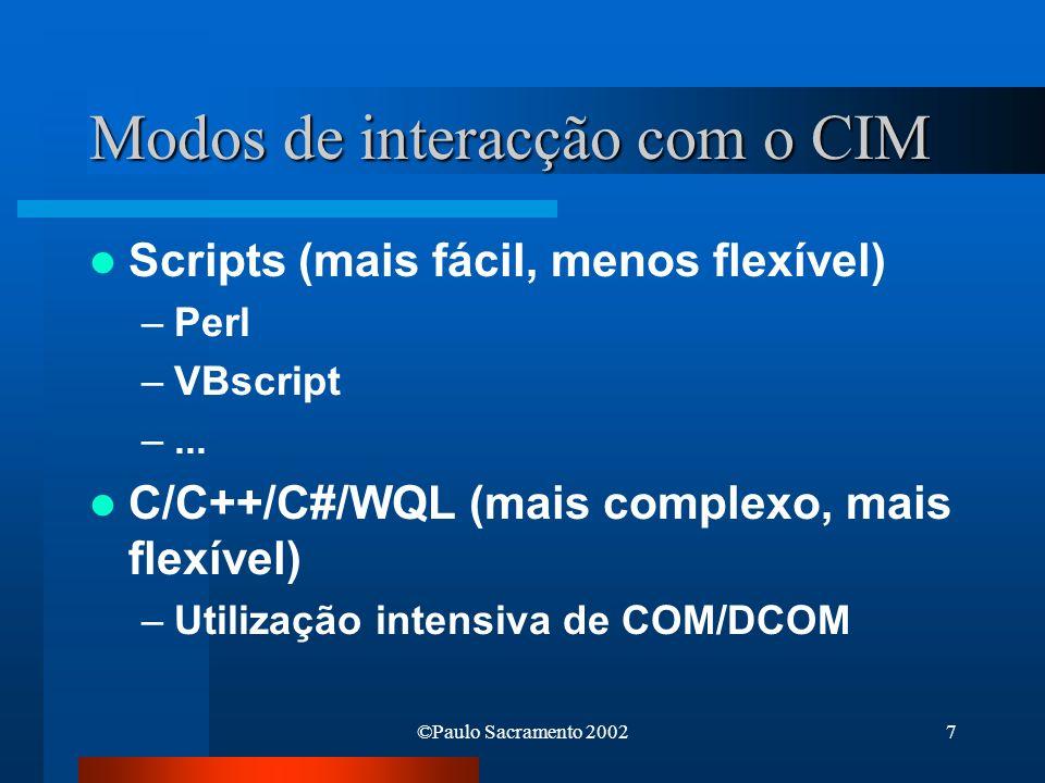 Modos de interacção com o CIM