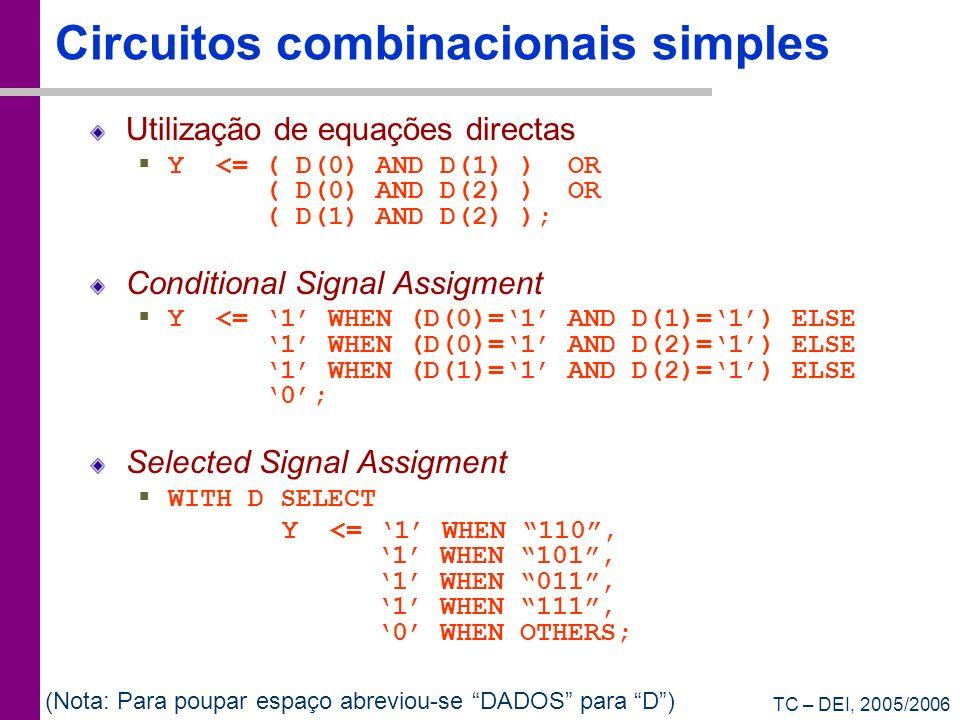 Circuitos combinacionais simples