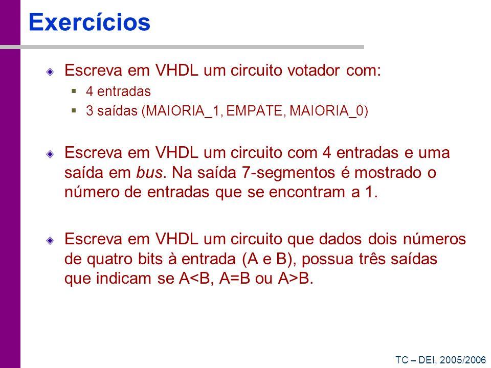 Exercícios Escreva em VHDL um circuito votador com: