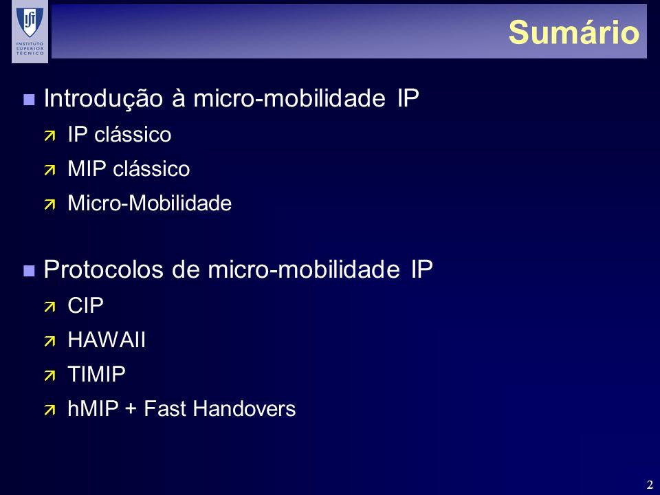 Sumário Introdução à micro-mobilidade IP
