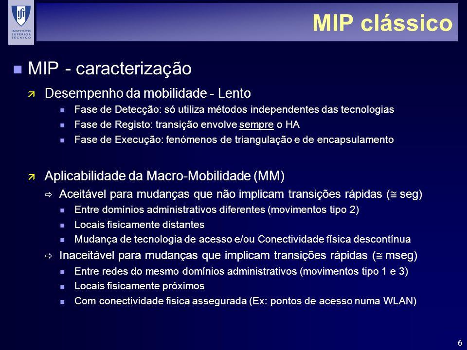 MIP clássico MIP - caracterização Desempenho da mobilidade - Lento