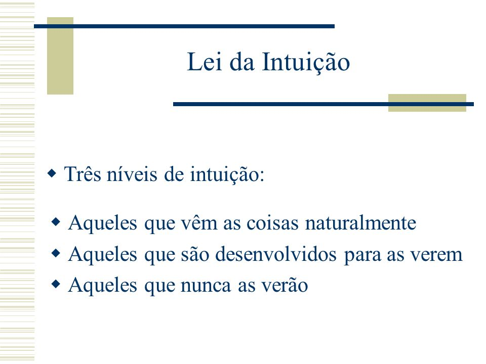 Lei da Intuição Três níveis de intuição: