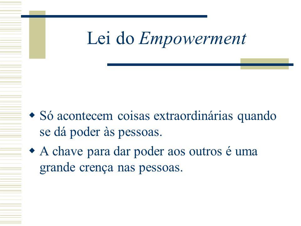 Lei do Empowerment Só acontecem coisas extraordinárias quando se dá poder às pessoas.