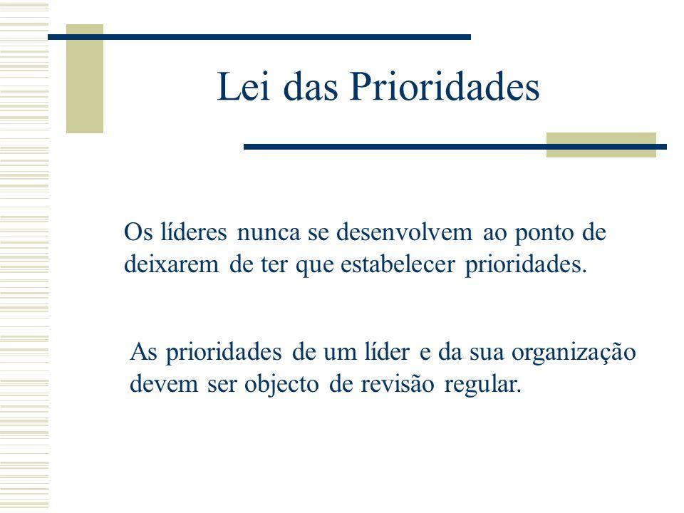 Lei das PrioridadesOs líderes nunca se desenvolvem ao ponto de deixarem de ter que estabelecer prioridades.