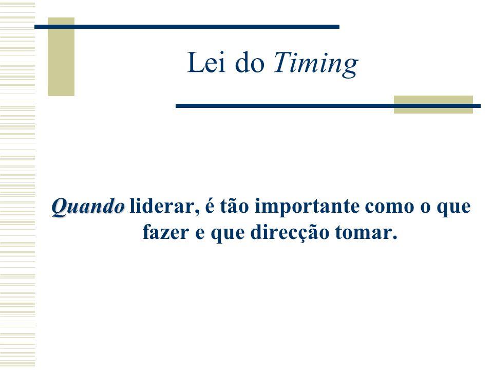 Lei do Timing Quando liderar, é tão importante como o que fazer e que direcção tomar.