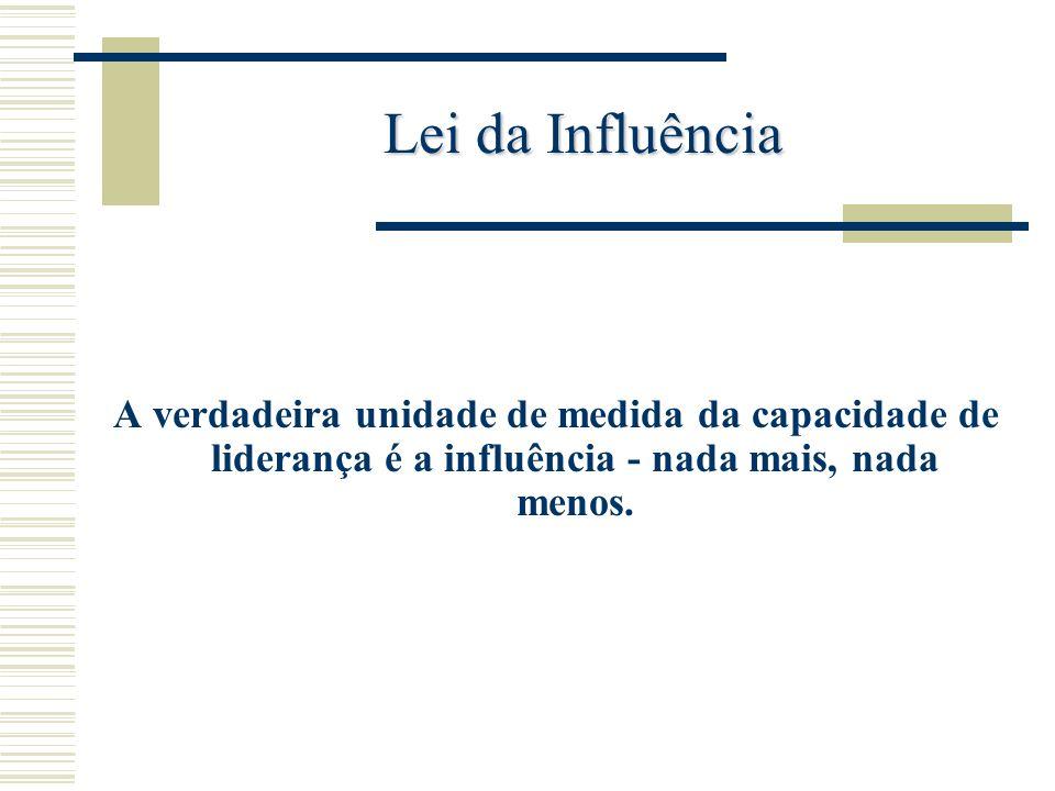 Lei da InfluênciaA verdadeira unidade de medida da capacidade de liderança é a influência - nada mais, nada menos.