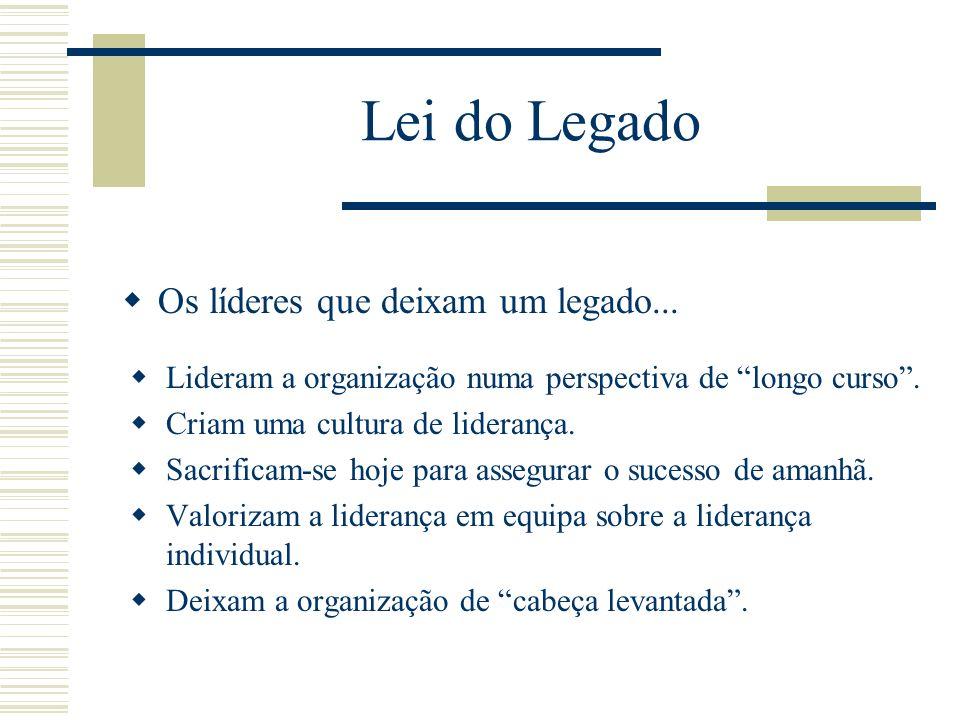Lei do Legado Os líderes que deixam um legado...
