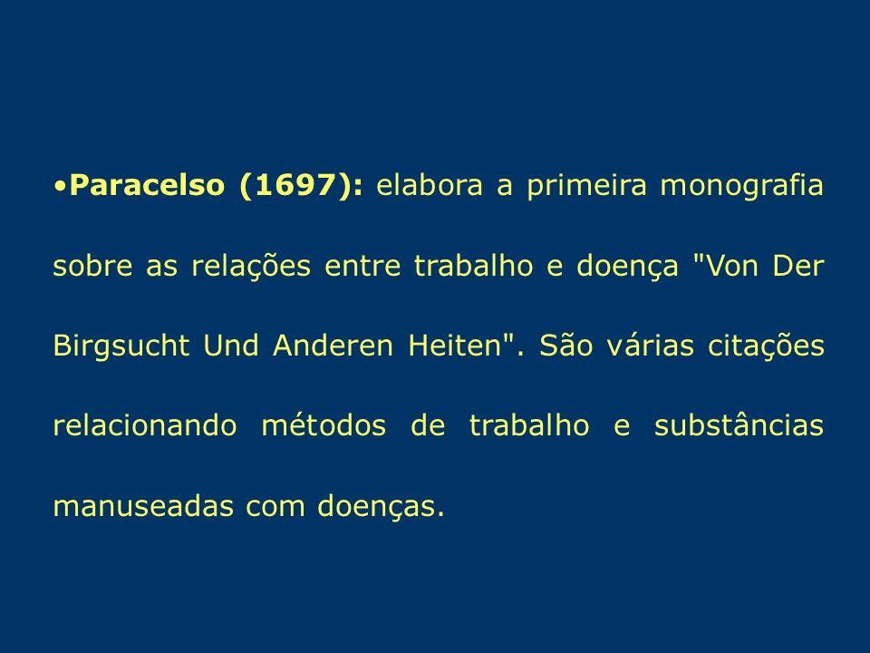 Paracelso (1697): elabora a primeira monografia sobre as relações entre trabalho e doença Von Der Birgsucht Und Anderen Heiten .