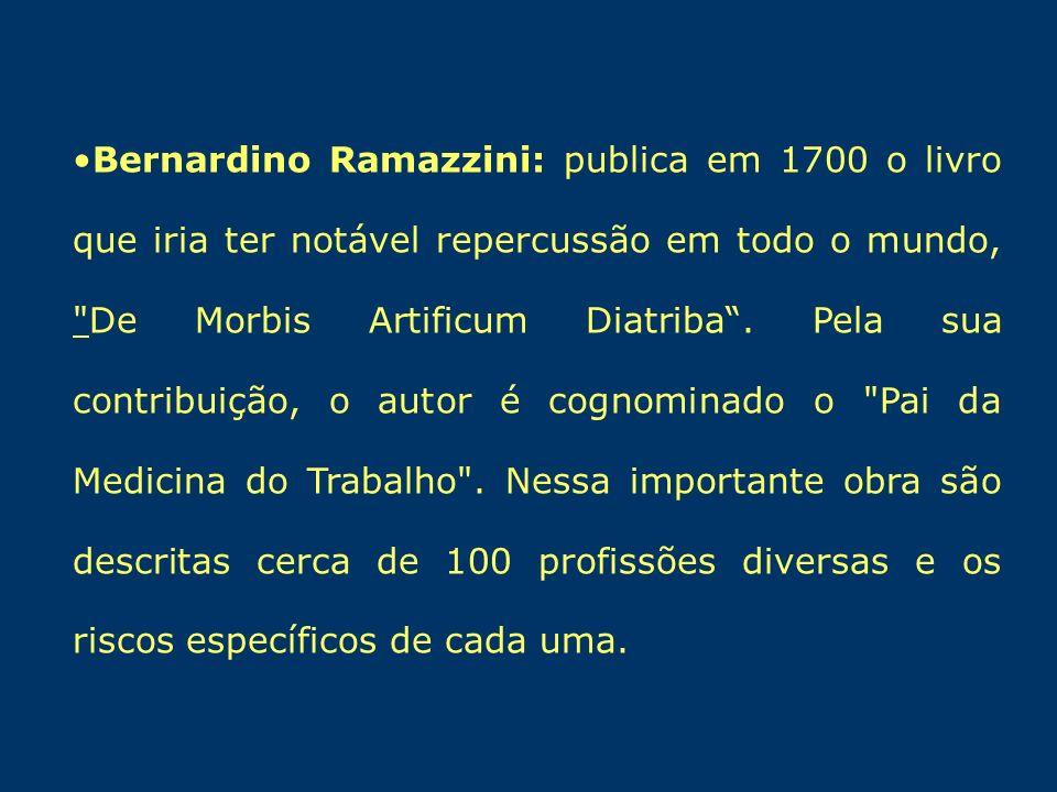 Bernardino Ramazzini: publica em 1700 o livro que iria ter notável repercussão em todo o mundo, De Morbis Artificum Diatriba .