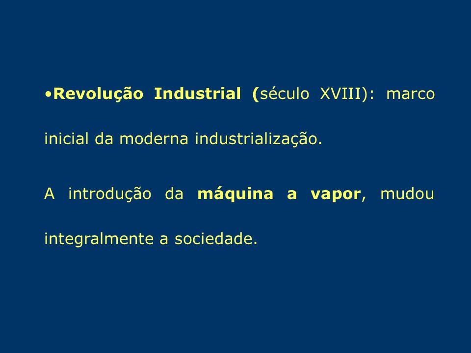Revolução Industrial (século XVIII): marco inicial da moderna industrialização.
