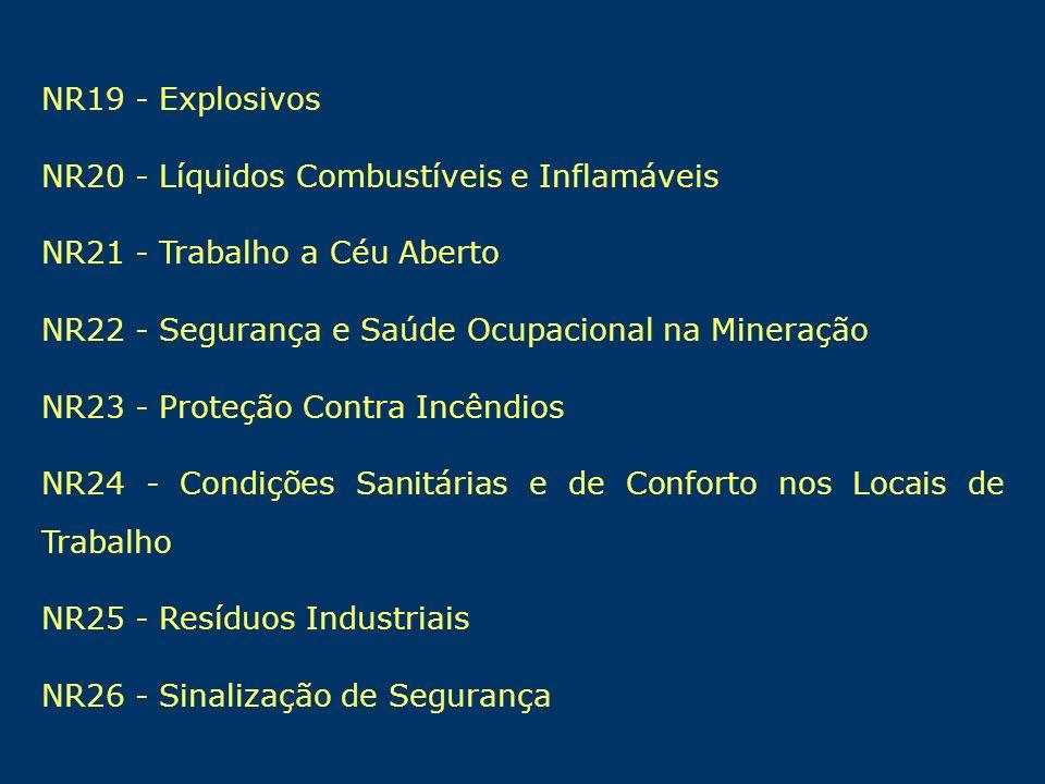 NR19 - ExplosivosNR20 - Líquidos Combustíveis e Inflamáveis. NR21 - Trabalho a Céu Aberto. NR22 - Segurança e Saúde Ocupacional na Mineração.