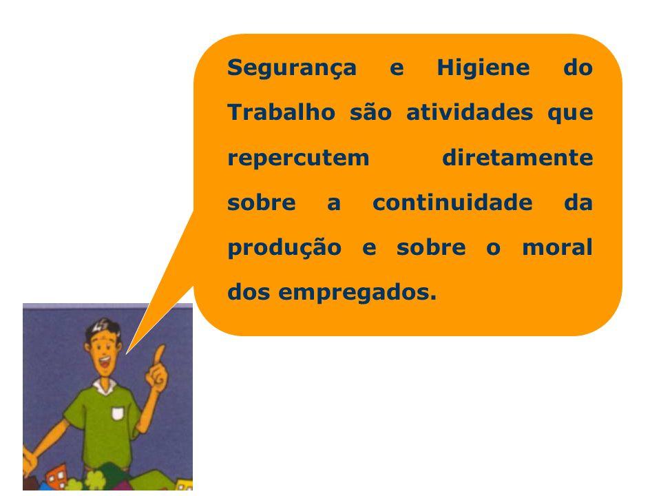 Segurança e Higiene do Trabalho são atividades que repercutem diretamente sobre a continuidade da produção e sobre o moral dos empregados.