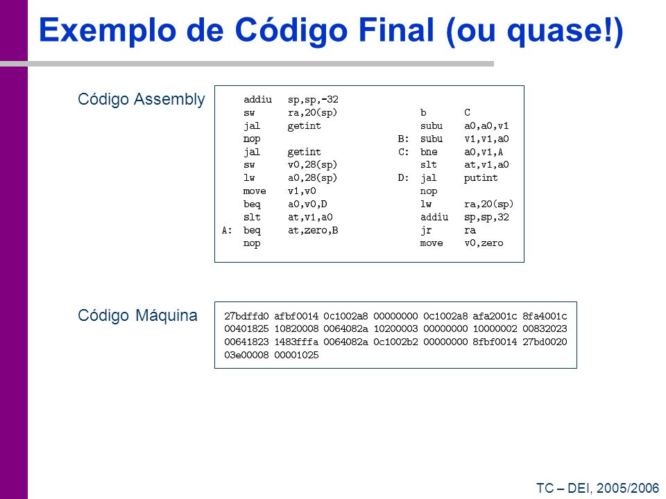 Exemplo de Código Final (ou quase!)