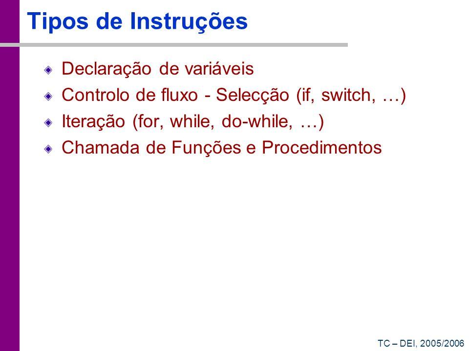 Tipos de Instruções Declaração de variáveis