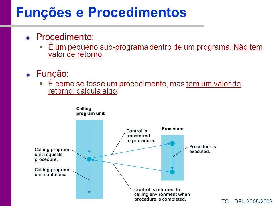 Funções e Procedimentos