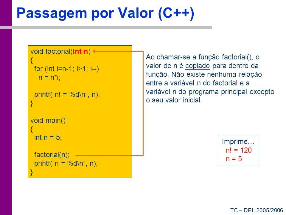 Passagem por Valor (C++)