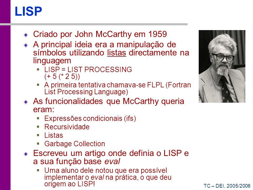 LISP Criado por John McCarthy em 1959