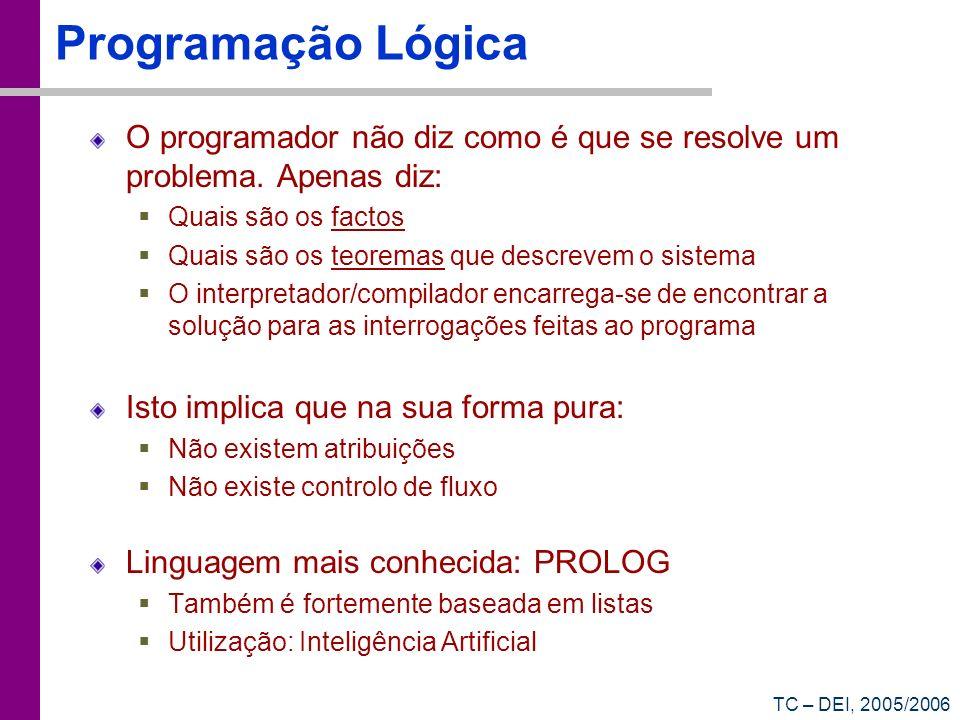 Programação Lógica O programador não diz como é que se resolve um problema. Apenas diz: Quais são os factos.