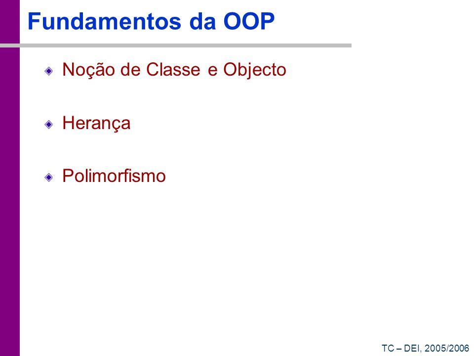 Fundamentos da OOP Noção de Classe e Objecto Herança Polimorfismo