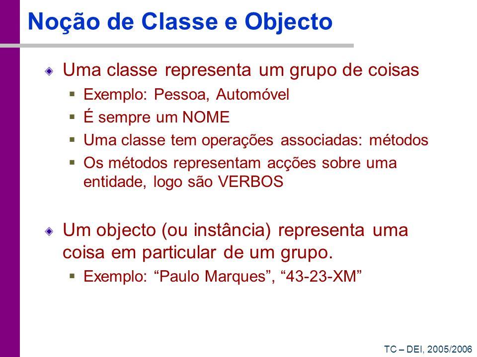 Noção de Classe e Objecto