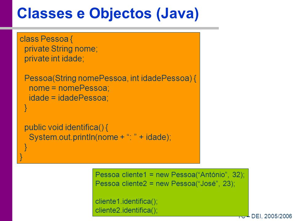 Classes e Objectos (Java)