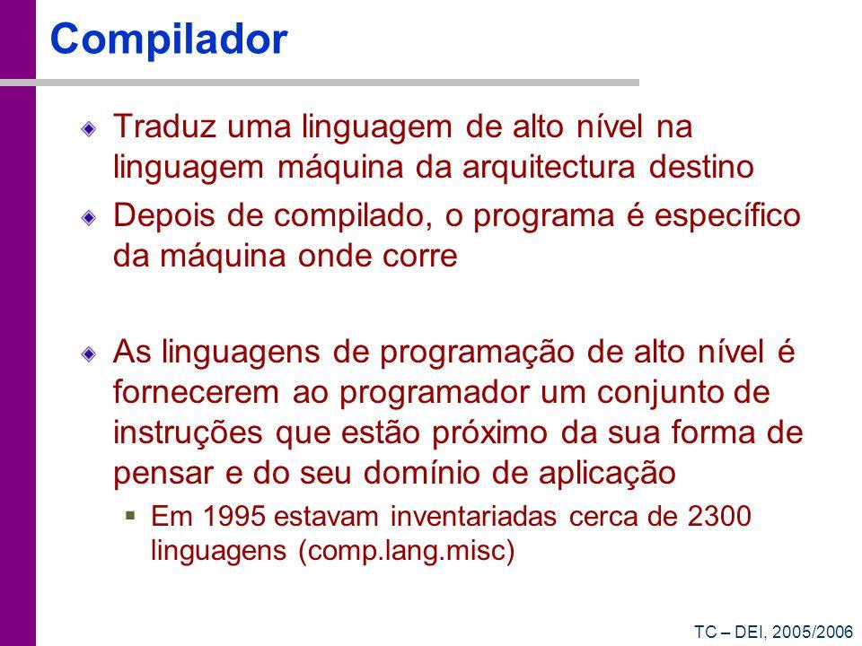 Compilador Traduz uma linguagem de alto nível na linguagem máquina da arquitectura destino.