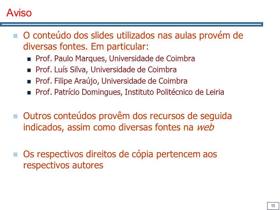Aviso O conteúdo dos slides utilizados nas aulas provém de diversas fontes. Em particular: Prof. Paulo Marques, Universidade de Coimbra.