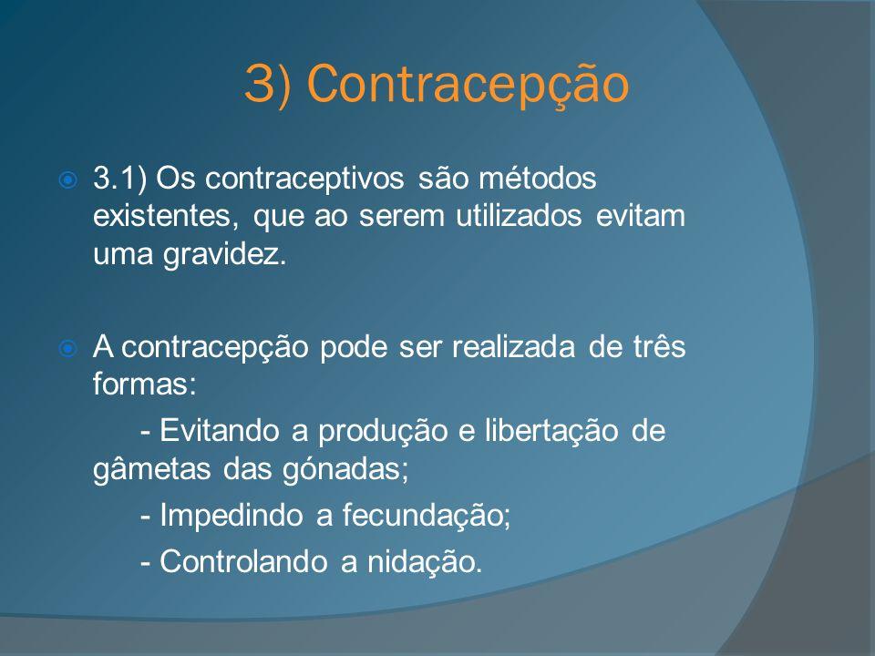 3) Contracepção 3.1) Os contraceptivos são métodos existentes, que ao serem utilizados evitam uma gravidez.