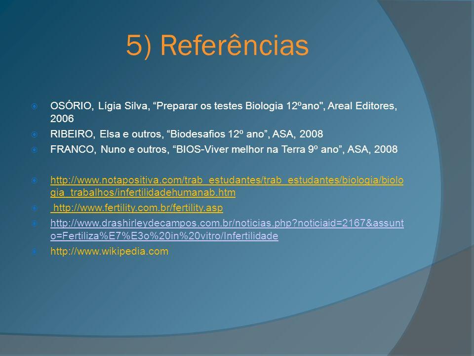 5) ReferênciasOSÓRIO, Lígia Silva, Preparar os testes Biologia 12ºano , Areal Editores, 2006.