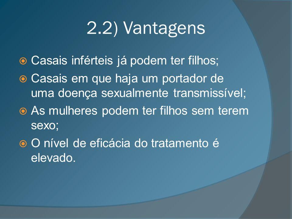 2.2) Vantagens Casais inférteis já podem ter filhos;
