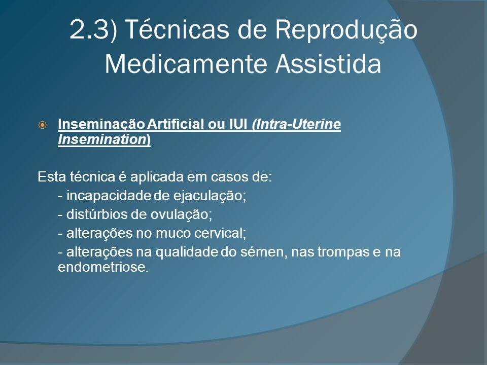 2.3) Técnicas de Reprodução Medicamente Assistida