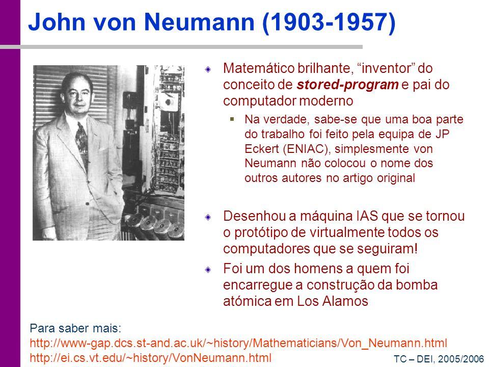 John von Neumann (1903-1957) Matemático brilhante, inventor do conceito de stored-program e pai do computador moderno.