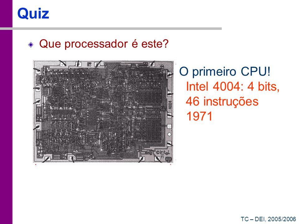 Quiz O primeiro CPU! Intel 4004: 4 bits, 46 instruções 1971