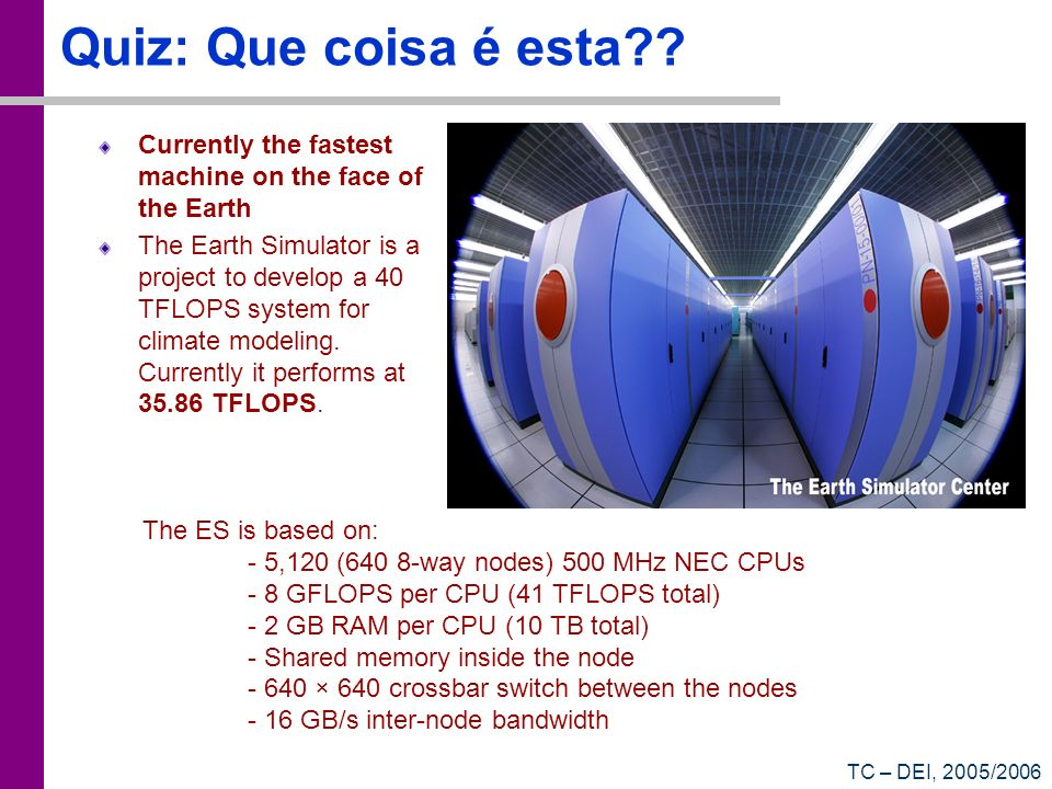 Quiz: Que coisa é esta Currently the fastest machine on the face of the Earth.
