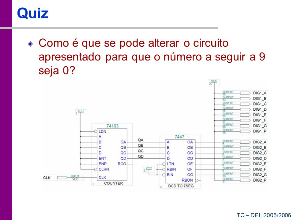 Quiz Como é que se pode alterar o circuito apresentado para que o número a seguir a 9 seja 0.