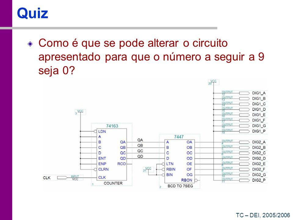QuizComo é que se pode alterar o circuito apresentado para que o número a seguir a 9 seja 0.