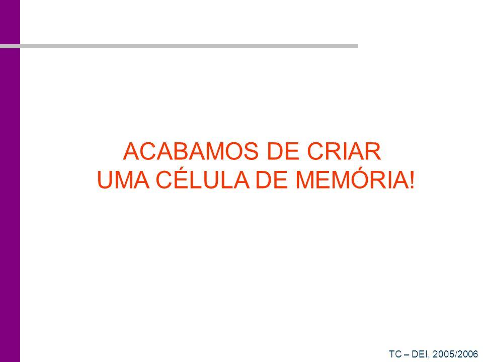 ACABAMOS DE CRIAR UMA CÉLULA DE MEMÓRIA! TC – DEI, 2005/2006