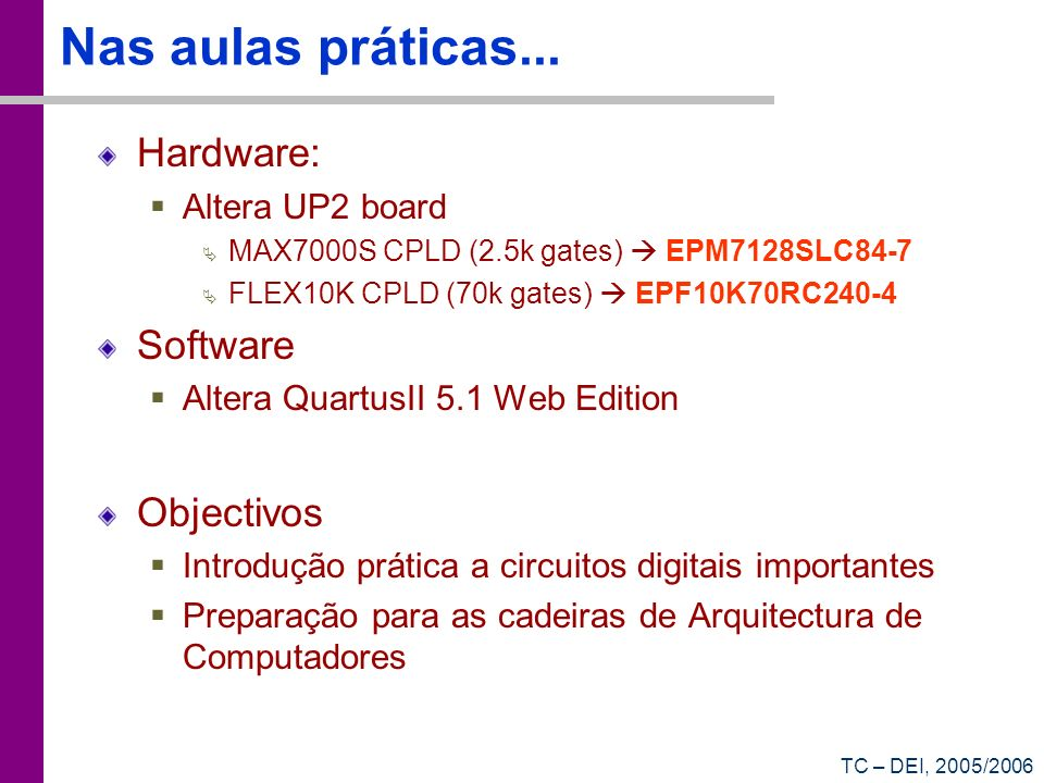 Nas aulas práticas... Hardware: Software Objectivos Altera UP2 board