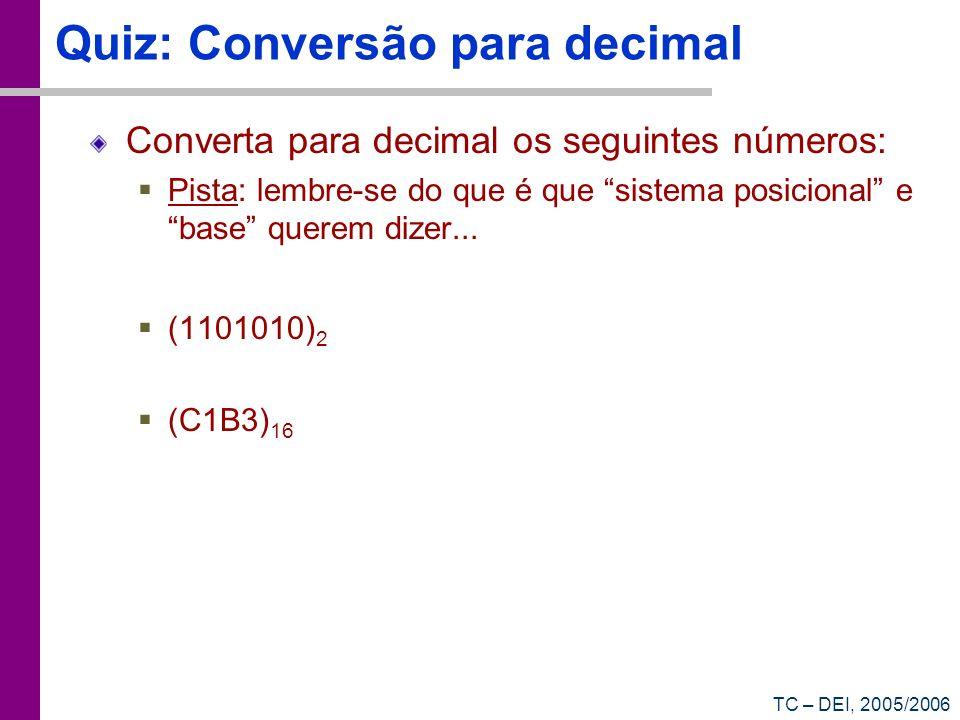 Quiz: Conversão para decimal