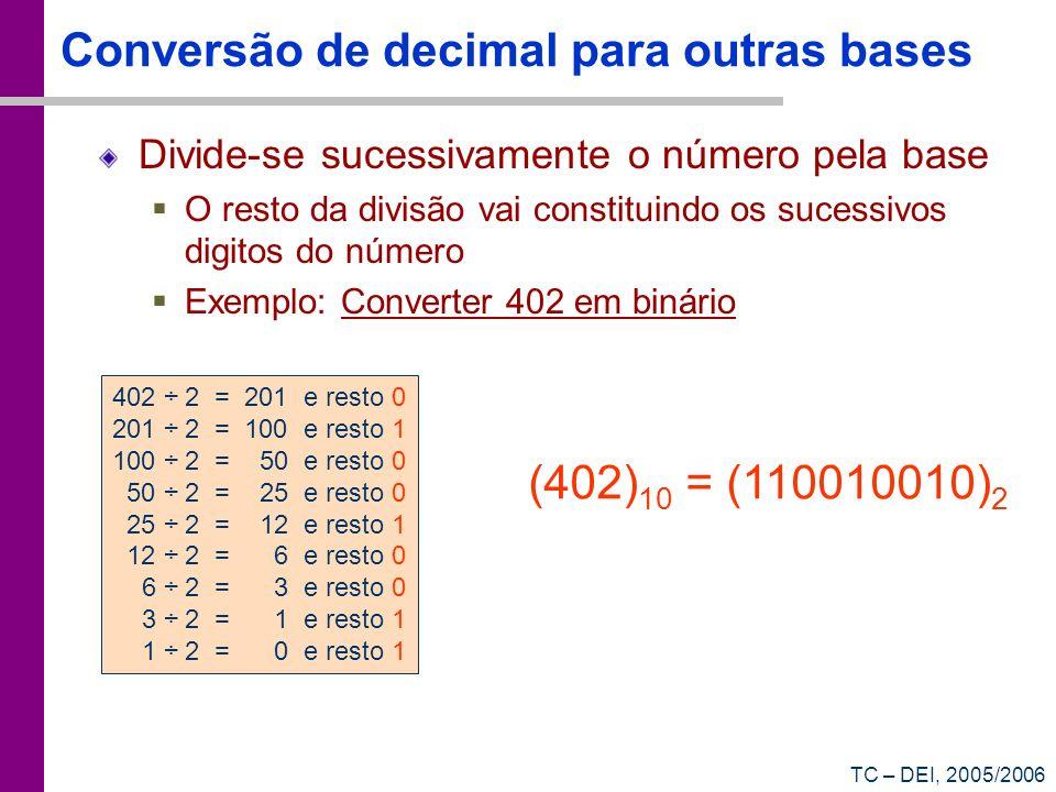 Conversão de decimal para outras bases