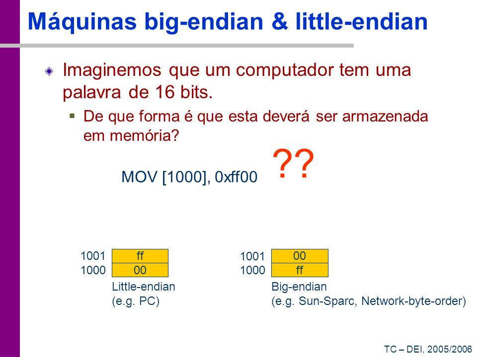 Máquinas big-endian & little-endian