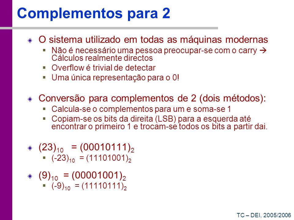 Complementos para 2 O sistema utilizado em todas as máquinas modernas