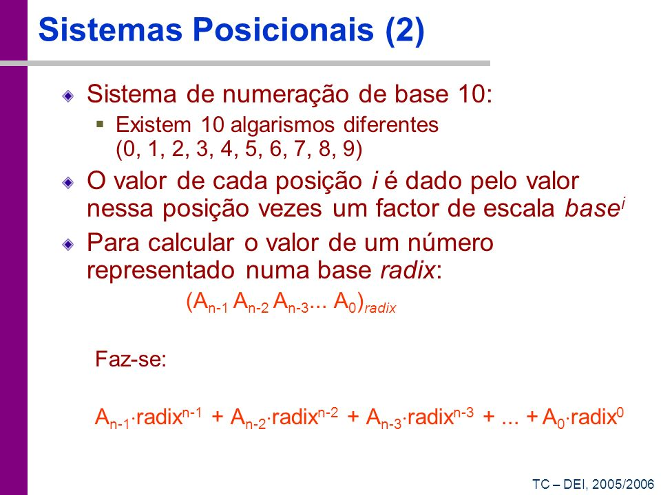 Sistemas Posicionais (2)